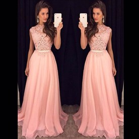 Pink Cap Sleeve A-Line Lace Bodice Chiffon Floor-Length Evening Dress