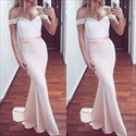 Show details for Pale Pink Off-The-Shoulder Lace Bodice Chiffon Mermaid Long Prom Dress