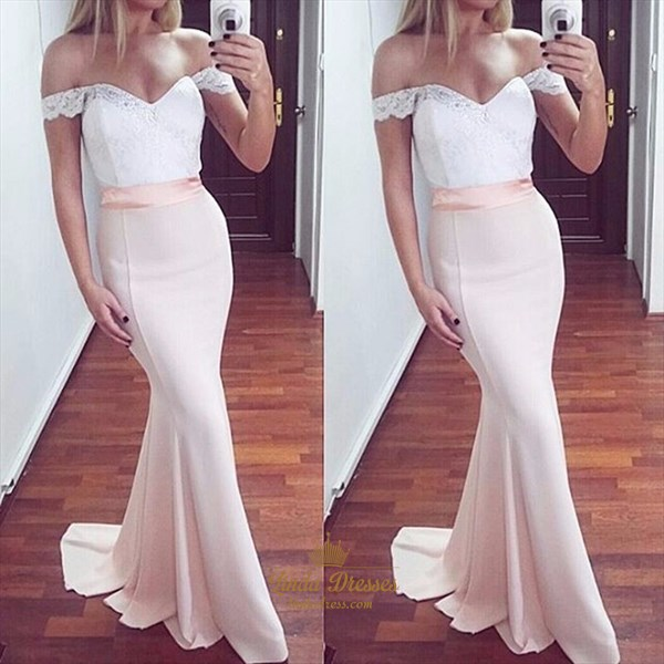 Pale Pink Off-The-Shoulder Lace Bodice Chiffon Mermaid Long Prom Dress