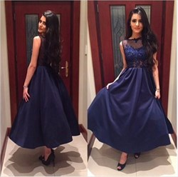 Navy Blue Illusion Lace Top A-Line Ankle Length Sleeveless Prom Dress