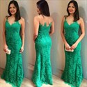Elegant Green Sleeveless Lace Long Formal Dress With Sheer Neckline