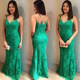 Elegant Green Sleeveless Lace Long Formal Dress With Sheer Neckline