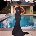 Sleeveless Black Halter Lace Bodice Empire Waist Mermaid Prom Dress