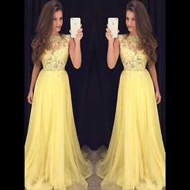 A-Line Cap Sleeve Yellow Lace Bodice Chiffon Bottom Long Prom Dress