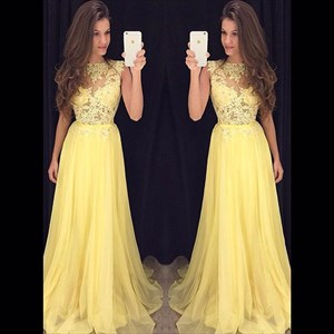 A-Line Cap Sleeve Yellow Lace Bodice Chiffon Bottom Long Prom Dress