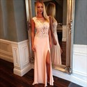 Illusion Sleeveless Lace Bodice Chiffon Long Prom Dress With Side Slit