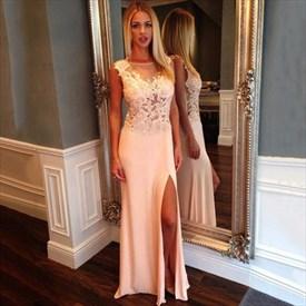 Illusion Sleeveless Lace Bodice Chiffon Long Prom Dress With Side Slit