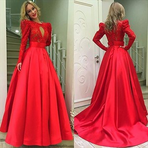 Long Sleeve Lace Bodice A-Line Ball Gown Prom Dress With Front Keyhole