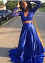 Royal Blue Two Piece V-Neck Long Sleeve Lace Bodice A-Line Prom Gown