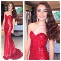 Show details for Sparkly Red Sequin Strapless Sweetheart Floor-Length Mermaid Prom Gown