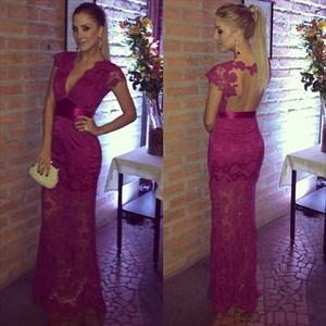 Fuchsia Deep V-Neck Cap Sleeve Lace Overlay Floor-Length Evening Dress