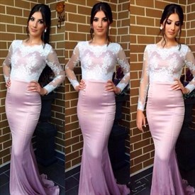 Elegant Illusion Long Sleeve Lace Bodice Floor-Length Evening Dress
