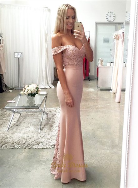 Light Pink Off-The-Shoulder Mermaid Floor-Length Prom Dress With Lace