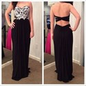 Show details for Black Strapless Floor-Length Applique Chiffon Prom Dress With Cutouts