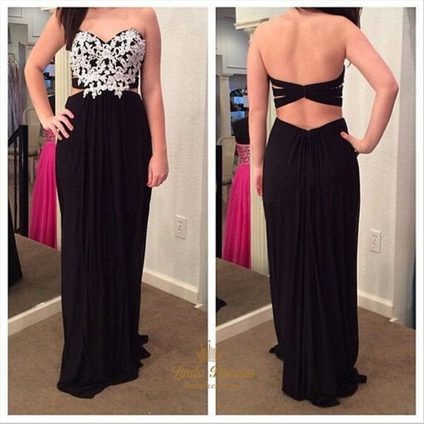 Black Strapless Floor-Length Applique Chiffon Prom Dress With Cutouts