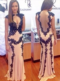 Floor-Length Cap Sleeve Black Lace Embellished Prom Dress With Keyhole