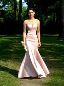 Light Pink Sleeveless Mermaid Long Evening Gown With Sheer Neckline