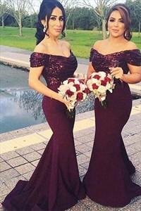 Burgundy Off-The-Shoulder Sequin Bodice Mermaid Long Bridesmaid Dress