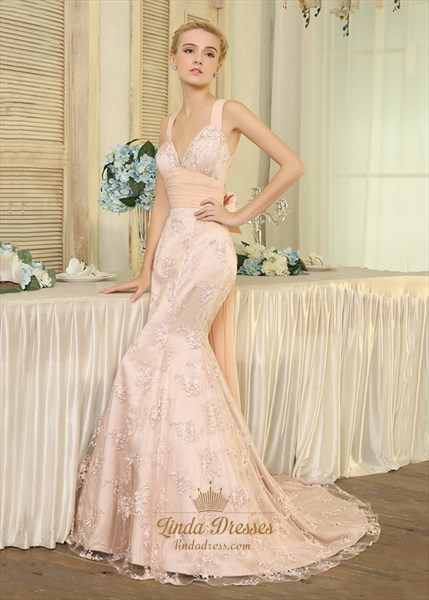 Sleeveless V-Neck Lace Overlay Empire Waist Mermaid Prom Gown With Bow