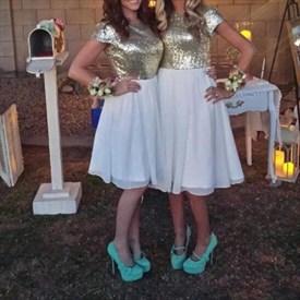 Knee Length Cap Sleeve Sequin Bodice Chiffon A-Line Bridesmaid Dress