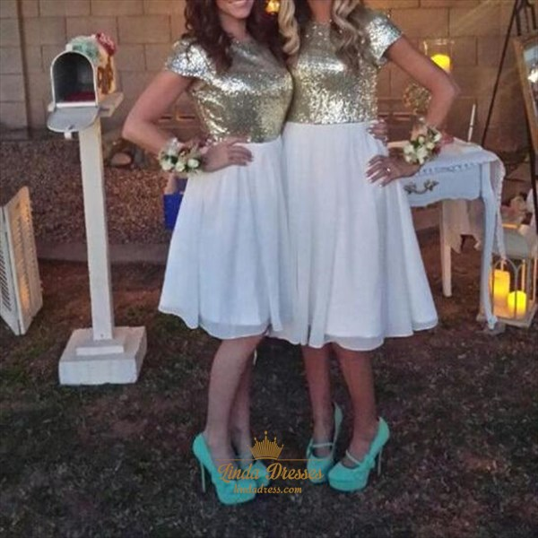 Knee Length Cap Sleeve Sequin Bodice Chiffon A-Line Bridesmaid Dress