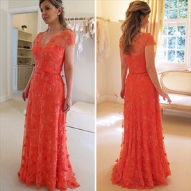 Illusion Orange Red Cap Sleeve A-Line Lace Floor-Length Formal Dress