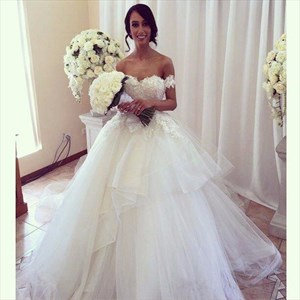 Off-The-Shoulder Sweetheart Lace Bodice Tulle Ball Gown Wedding Dress