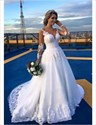 Illusion Sheer Long Sleeve White V-Neck Lace Applique Wedding Dress