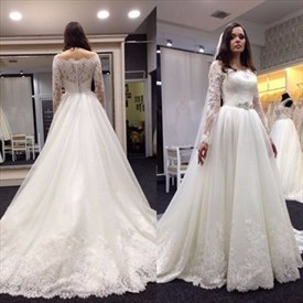 Elegant Off Shoulder Lace Embellished Wedding Dress With Long Sleeves