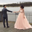 Light Pink Illusion Off The Shoulder Long Sleeve Tulle Wedding Dress