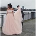Show details for Light Pink Illusion Off The Shoulder Long Sleeve Tulle Wedding Dress