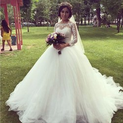 Illusion Long Sleeve Lace Bodice Tulle Skirt Ball Gown Wedding Dress