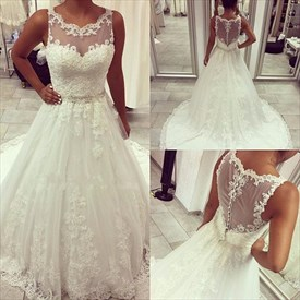 White Sleeveless Lace Embellished Wedding Dress With Sheer Neckline