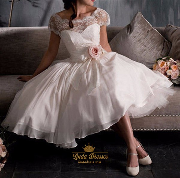 Illusion Lace Bodice Tea Length A-Line Tulle & Chiffon Wedding Dress