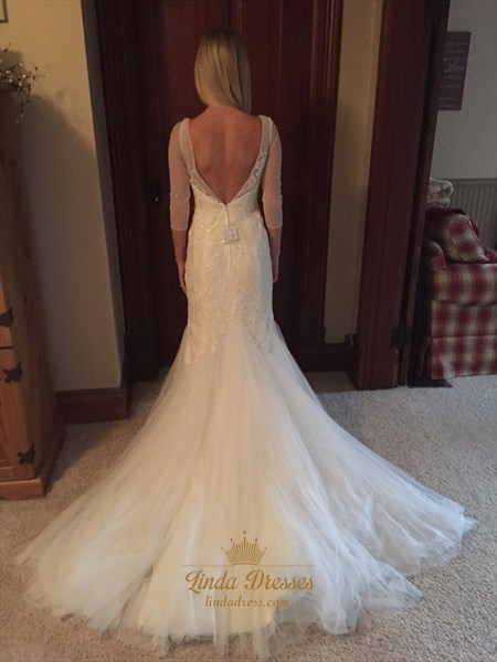 V-Neck Backless Mermaid Lace Tulle Wedding Dress With Sheer Sleeves
