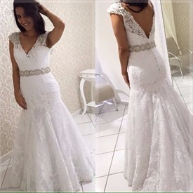 V-Neck Lace Beaded Cap Sleeve Floor-Length Open Back Wedding Dress