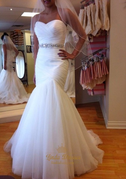 White Strapless Ruched Bodice Drop Waist Mermaid Tulle Wedding Dress
