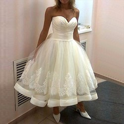 A-Line Tea Length Strapless Sweetheart Lace Embellished Wedding Dress