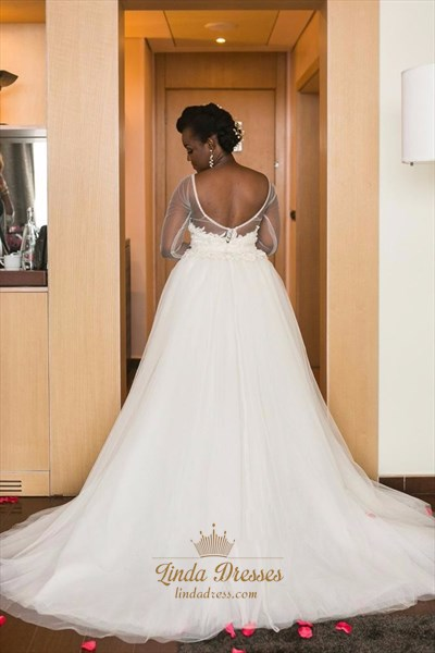 Sheer Long Sleeve Lace Tulle Knee Length Wedding Dress With Train