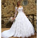 Off Shoulder V-Neck Long Sleeve Lace Overlay Wedding Dress With Train