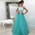 Show details for Elegant A-Line Sleeveless Lace Bodice Evening Dress With Tulle Skirt