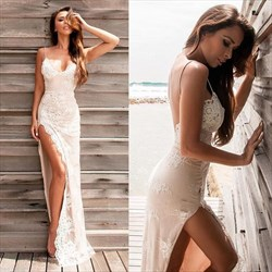 Spaghetti Strap V-Neck Open Back Lace Long Prom Dress With Side Slit