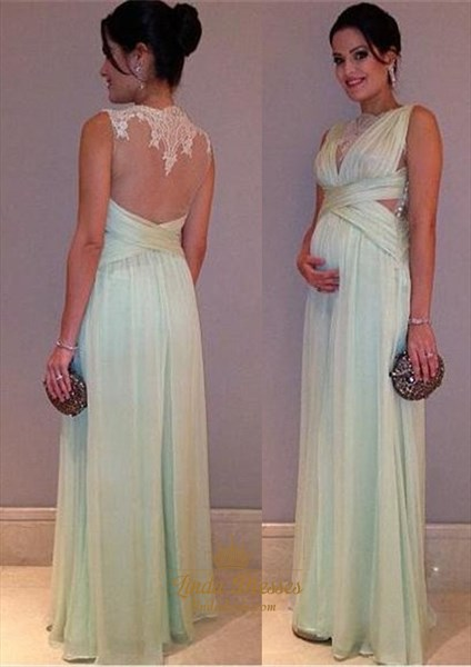 A-Line Sleeveless Ruched Lace Chiffon Prom Dress With Illusion Back