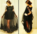 Show details for Illusion Black Long Sleeve Lace Embellished Tulle Overlay Prom Dress