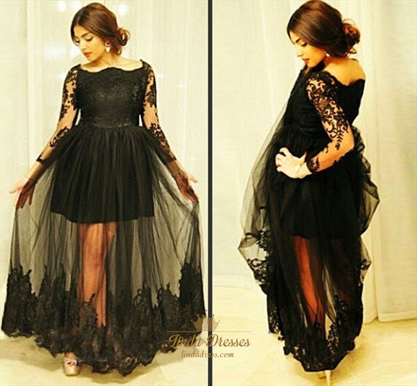 Illusion Black Long Sleeve Lace Embellished Tulle Overlay Prom Dress
