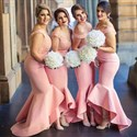 Show details for Off The Shoulder V-Neck Lace Bodice Mermaid High Low Bridesmaid Dress