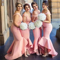 Off The Shoulder V-Neck Lace Bodice Mermaid High Low Bridesmaid Dress