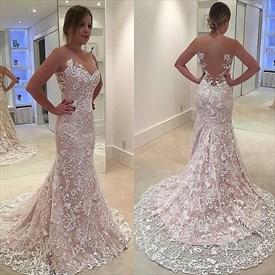 Elegant Sleeveless Lace Overlay Mermaid Prom Dress With Sheer Neckline