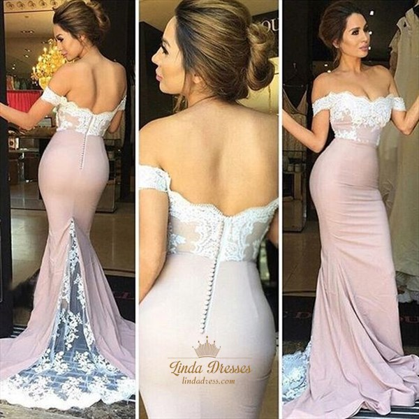Trumpet/Mermaid Off The Shoulder Lace Embellished Long Evening Dress