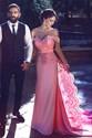 Elegant Pink Off Shoulder Lace Embellished Long Prom Dress With Train